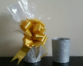 Glitter Glass Tumblers. Silver or Blue, Gift Wrapped
