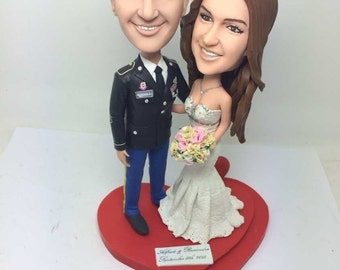 Militray Wedding Topper Personalized Cake Figurines Custom Bobble Head Based On Customers Photos
