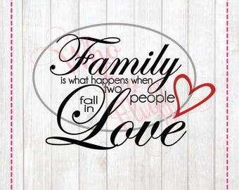 Family is what happens when two people fall in love SVG,  DIY jpg png files, cutting file, gift Family saying quote vector
