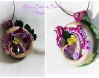 Lythia. Midsummer/Summer Solstice Dragon. Polymer clay,Amethyst