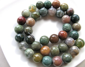 Indian Agate, 38 beads, 10mm, muted colors, orange, green, mauve and tan - 463