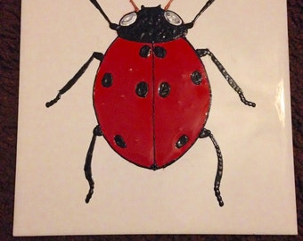 Ceramic Tile Painting, Original, Red and black ladybird beetle creepie crawley insect plaque