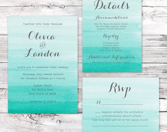 Wedding Invitation Sample- Watercolor Seafoam Suite