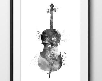 Cello Black and White Print, Cello Watercolor Print, Music Wall Art, Music Poster, Music Instrument Poster, Cello Decor, Cello Art (A0254)