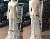 SEE THROUGH Lace Night Gown Dress for Sexy Women. Bathing Suit Cover. Maternity. White Very Long Date with Boo Impress or Depress your Hater