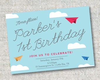 Paper Airplane Invitation: Birthday, Airplane theme, Digital File or Printed Cards, Plane Birthday, Printable, Customizable