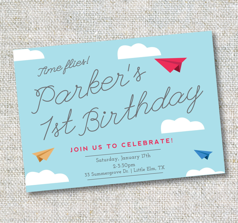 Airplane Birthday Invitation Diy Printable By Vindee On Etsy: Paper Airplane Invitation: Birthday Airplane Theme Digital