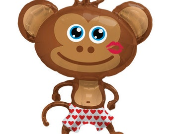 "Valentine's Day Balloon, Hunky Monkey, 41"",  Monkey, Love Balloon Kiss balloon Anniversary, Bachelorette Party Decoration, Bridal Decor"