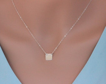 sterling silver square initial disc, Square Disc Necklace, Celebrity Square Disc Necklace, Personalized Square, Couple Necklace,