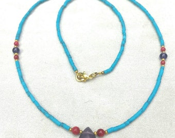 FREE SHIPPING Worldwide Afghan Natural Turquoise with Amethyst Pendant, Gold Plated & Coral Tiny Seed Beads Necklace Tribal Handmade Vintage