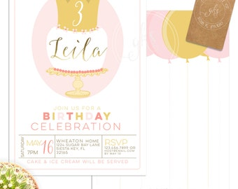 Yellow and pink Modern Princess Birthday Cake invitation -1st,  2nd, 3rd, 4th, 5th or any Birthday - gks_A189