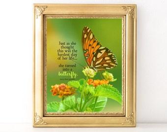Caterpillar Butterfly Print / Every Day Spirit / Inspirational Wall Art / Dorm Decor / Encouraging Quote / Uplifting Art / Girlfriend Gift