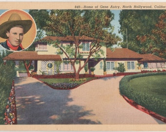 Gene Autry Home Vintage Postcard North Hollywood California