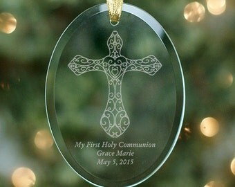Engraved Cross Glass Ornament, Religious Gift, Engraved Ornament