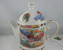 English Teapot by James Sadler, History of Travel, Bone China made in England.
