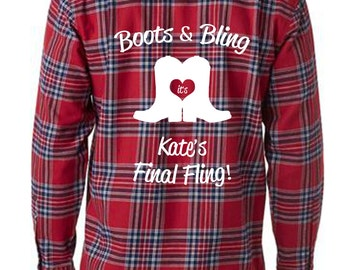 Boots and Bling Bride's Final Fling Bachelorette Flannels Bridesmaid Flannels Wedding Flannels Wedding Prep Wedding Getting Ready