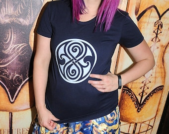 New item!  Sci-Fi Symbol  American Apparel 50/50 women's fitted shirt, sizes small to xl.