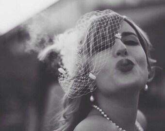 Vintage Birdcage Wedding Veil - White Blusher *FREE SHIPPING*