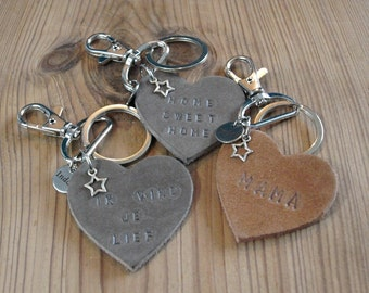 Keychain, leather, heart, personalised, text, gift for mother