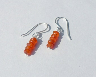 EARRINGS CARNELIAN Silver 925 manufacturing French gift not expensive gift feast of the mothers Peter Fine natural untreated orange