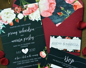 Marsala Wedding Invitation, Floral Watercolor, Wedding Invitations, Invitation Set, Invitation Suite, Printed Invitation, Elegant Wedding