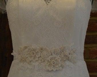 Fully handbeaded lace flowers and petals bridal sash