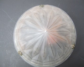 Art Deco French Frosted Glass Light Shade. Signed Degue