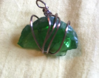 Green wrapped sea glass pendent