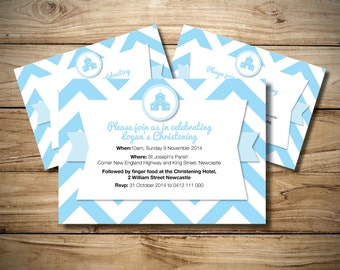 Boy's Christening Invitation with Zig Zag pattern