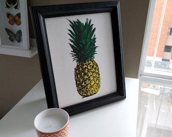 Pineapple Hand Pulled Block Print
