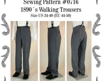 Victorian / Edwardian Mens Walking Trousers from 1870 to 1910 Sewing Pattern #0716 Size US 34-48 (EU 44-58) PDF Download