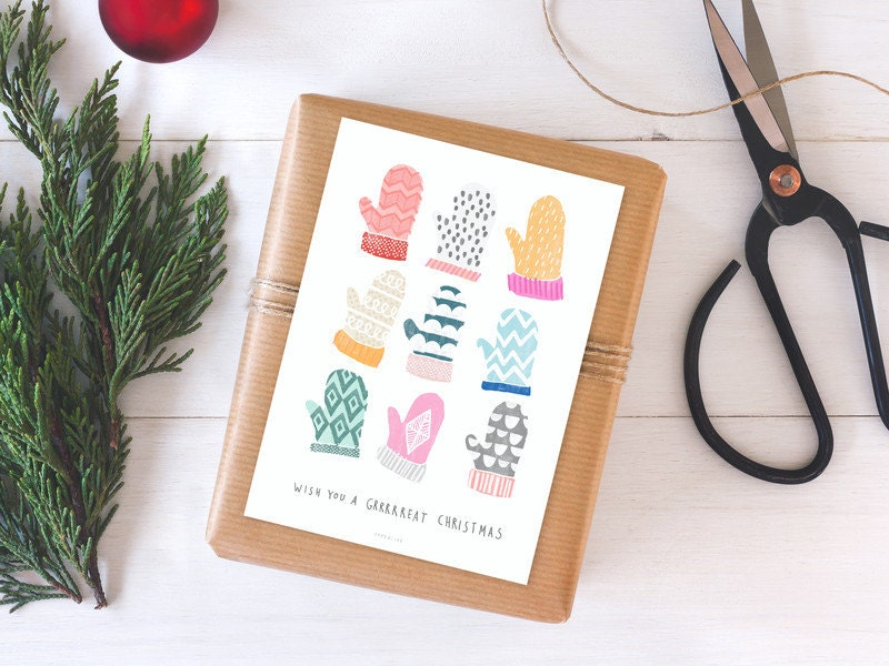 Weihnachtskarte Brrright Christmas No. 2 / Gloves, Postcard ...