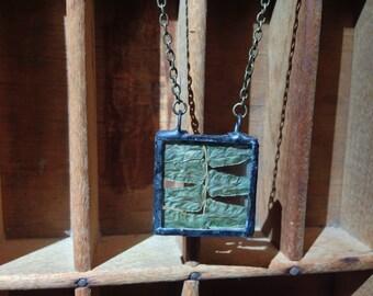 Fern Square Terrarium Necklace - Boho Gypsy Woodland Stained Glass Natural Botanical