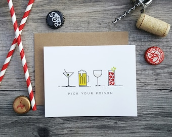 Pick Your Poison Celebration Greeting Card - Handmade