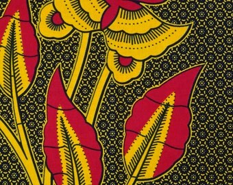 African print fabric by the yard Ankara fabric African Fabric Shop African Supplies for dress skirt headtie black and red flowers print