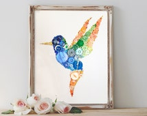 Hummingbird Button Art, Small, Buttons & Swarovski Crystal Rhinestones Unique Gift, Bird Art Mother Birthday New Home, Blue Orange and Green