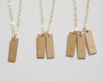 14K Gold Bar Necklace/ Initial Bar Necklace/ Multiple Tags Necklace/ Tiny Bar/ Bridesmaid/   Gold Bar Pendant Necklace,  Personalized Bar