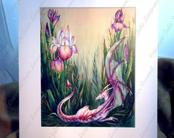 "Matted Fine Art Print ""Lavender's Green"",  A Delicate Fantasy Dragon in Irises Painting"