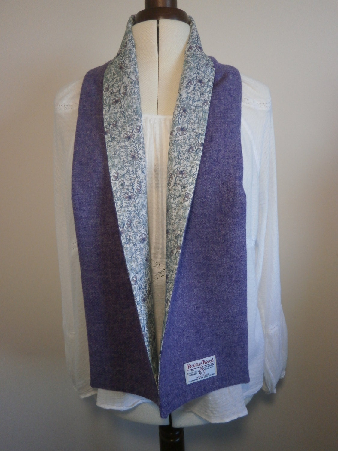 harris tweed scarf lined with liberty of fabric