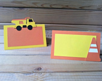 Construction Theme Place Cards / Food Tents - truck party - construction decorations - party supplies