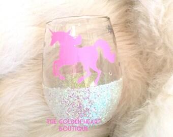 Unicorn stemless wine glass. Sparkle wine glass