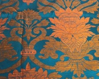 Fabulous Vintage 1960's blue gold brocade fabric