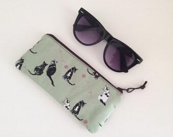 Cat lovers zippered purse,sunglasses case, padded, multifunction, handmade