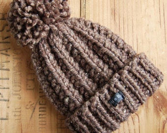 Mens Brown Bobble Hat. Thick chunky hand knitted beanie with large removable pom pom. HoBo Handmade Lofty. Tweed wool blend. Medium/Large/XL