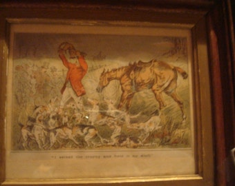 Vintage framed hunt print
