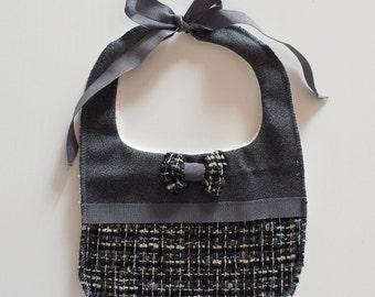 Baby bib with grey wool bow tie
