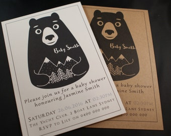 Printable Baby Shower Invitation | Tribal invite |  its a boy | gender neutral | Print at home | Couples Shower | DIY Bear Babyshower