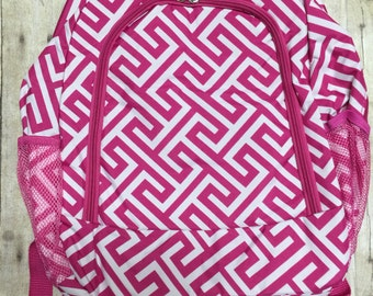 Personalized Pink and White Pattern Book Bag , Monogram Canvas Book bag, Personalized Backpack,  Kids Backpack, Personalized Book bag