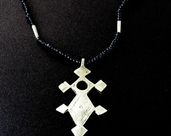 Authentic Necklace / Cross necklace / Gothic Necklace / Onyx necklace / Black necklace / Tribal necklace / Hand made Necklace / Alpaca