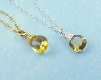 Citrine Necklace, Faceted Pear Gemstone Necklace, Citrine Jewelry, November Birthstone, Orange Citrine Drop Pendant Necklace